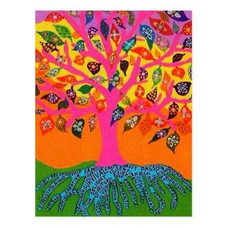 La raíz del árbol del conocimiento de la postal de