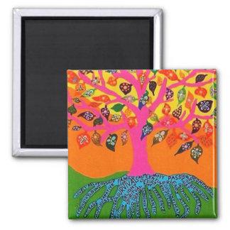La raíz del conocimiento - árbol de la vida imán cuadrado
