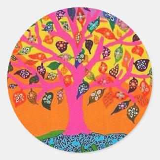 La raíz del conocimiento - árbol de la vida etiqueta redonda