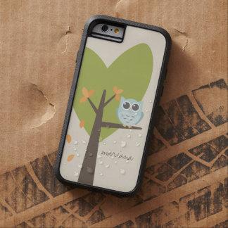 La rama de árbol de Brown sale del búho azul Funda De iPhone 6 Tough Xtreme