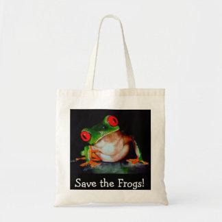 ¡La rana, ahorra las ranas! La bolsa de asas