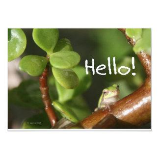 ¡La rana arbórea linda dice hola! ¡Estilo anfibio! Comunicado