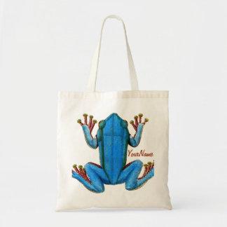 La rana azul del sapo añade su tote conocido del b bolsa tela barata