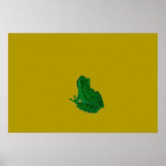 La rana colorzed verde contra amarillo mira para póster