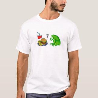 La rana confusa come los alimentos de preparación playera