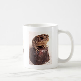 La rana del sapo en la mano martilló la foto de taza básica blanca