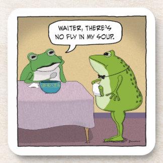 La rana divertida se queja ninguna mosca en mi posavasos