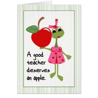La rana en un buen profesor del vestido le tarjeta de felicitación