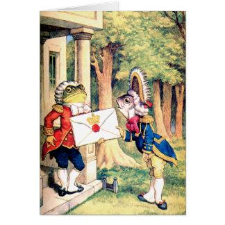La rana los pescados y la reina de la invitación d tarjetas