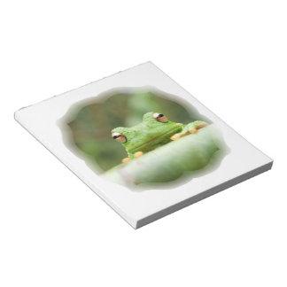 La rana observa la libreta libreta para notas