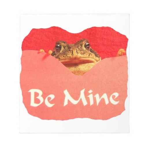 La rana sea tarjeta del día de San Valentín del re Blocs De Notas