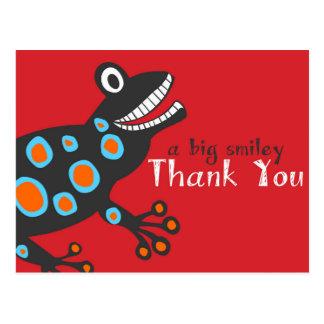 La rana sonriente le agradece cardar postales