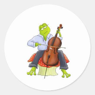 La rana toca el violoncelo pegatinas redondas