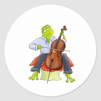 La rana toca el violoncelo pegatina redonda