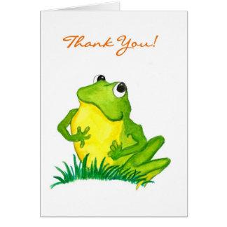 """La rana verde """"le agradece!"""" Notecard Tarjeta Pequeña"""