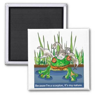La rana y el escorpión imán cuadrado