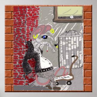 La rata del punk rock cuelga hacia fuera póster
