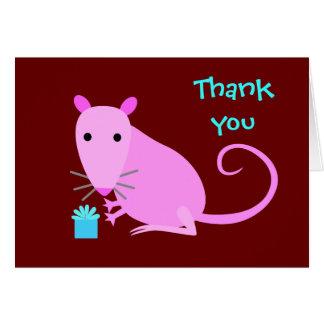 La rata linda le agradece cardar tarjeta de felicitación