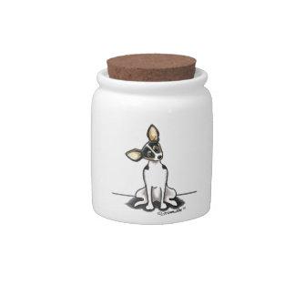 La rata Terrier tricolora sienta bonito Plato Para Caramelo
