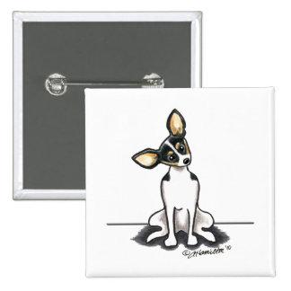 La rata Terrier tricolora sienta bonito Pin Cuadrada 5 Cm