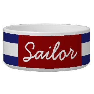 La raya azul y blanca náutica clásica personaliza comedero para mascota