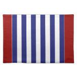 La raya azul y blanca náutica clásica personaliza manteles individuales