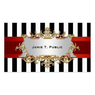 La raya blanca negra, cinta roja, oro enmarcó la tarjetas de visita