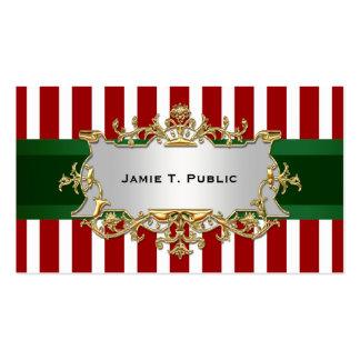 La raya blanca roja, cinta verde, oro enmarcó la tarjetas de visita