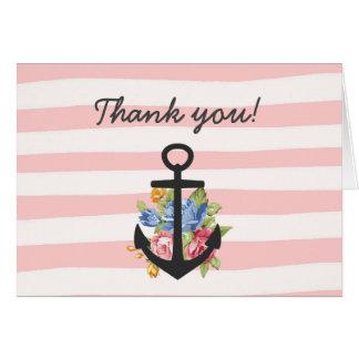 La raya náutica rosada del ancla le agradece tarjeta de felicitación