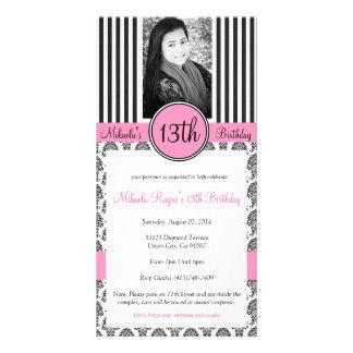 La raya negra, blanca y rosada invita tarjetas fotograficas