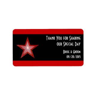 """La raya roja de la estrella """"le agradece"""" negro de etiqueta de dirección"""