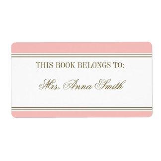 La raya simple se ruboriza Bookplate rosado Etiquetas De Envío