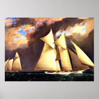 La raza de la taza de la primera América, 1870 Póster