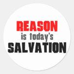 La razón es salvación de hoy pegatinas redondas