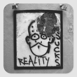 La realidad chupa calcomanías cuadradass