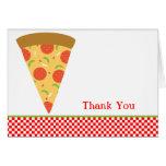 La rebanada de la pizza le agradece cardar tarjeta