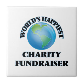 La recaudador de fondos más feliz de la caridad azulejo cuadrado pequeño