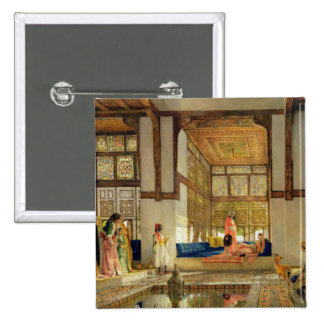 La recepción, 1873 (aceite en el panel) pin cuadrada 5 cm