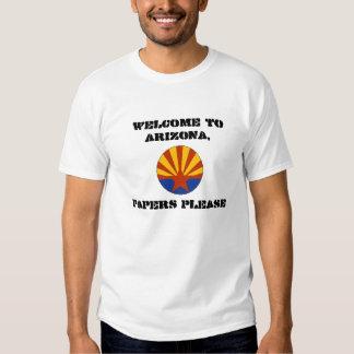 La recepción a Arizona empapela por favor sb1070 Polera