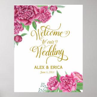 la recepción al peony del boda subió el oro rosado póster