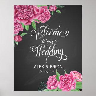 la recepción al peony del boda subió la pizarra de póster