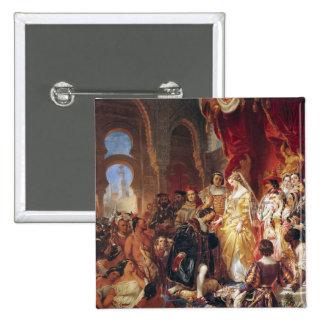 La recepción de Cristóbal Colón Pin Cuadrada 5 Cm