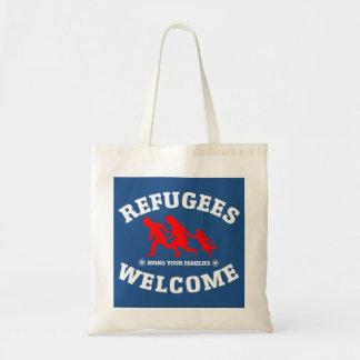 La recepción de los refugiados trae a sus familias bolsa tela barata