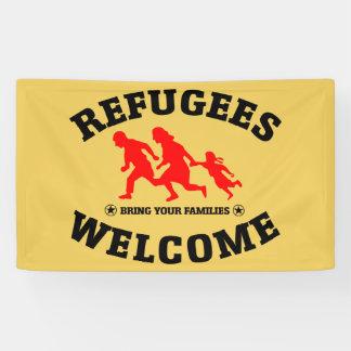 La recepción de los refugiados trae a sus familias lona