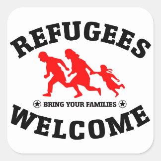La recepción de los refugiados trae a sus familias pegatina cuadrada