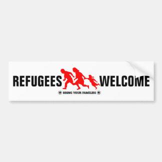 La recepción de los refugiados trae a sus familias pegatina para auto