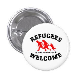 La recepción de los refugiados trae a sus familias pin redondo de 1 pulgada