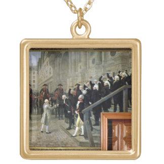 La recepción de Louis XVI en el hotel de Ville b Colgante Cuadrado