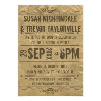 La recepción de Playbill del Grunge del vintage Invitación 12,7 X 17,8 Cm