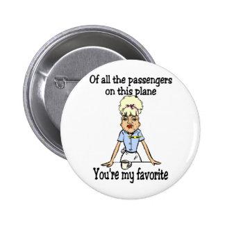 La recepción del asistente de vuelo pin